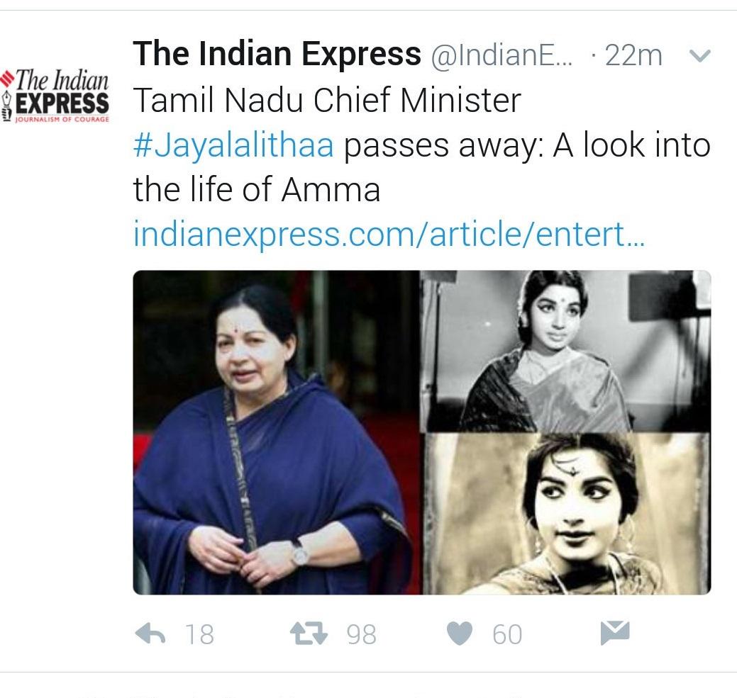 Jayalalithaa dead